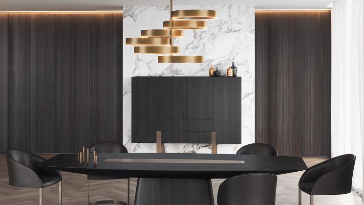 Пример дизайна с использованием стеновых панелей из массива древесины Линеа
